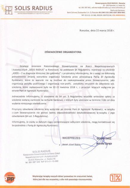 Ados2 oświadczenie